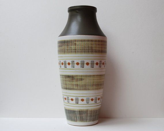 """Vintage large Langley/Denby """"Sycamore"""" stoneware vase by Glyn Colledge."""