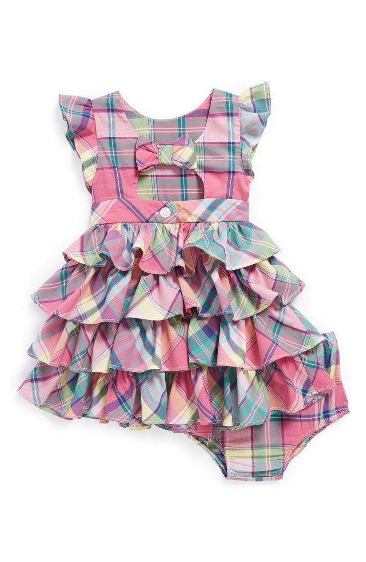 Main Image - Ralph Lauren Plaid Dress & Bloomers (Baby Girls)