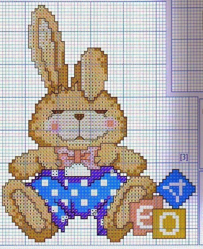 Hobby lavori femminili - ricamo - uncinetto - maglia: Coniglietto con papillon a punto croce