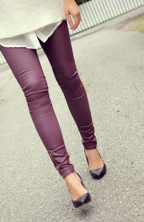 Purple skinny jeans - why not have them in every color #skinnyjeans #oneofeach