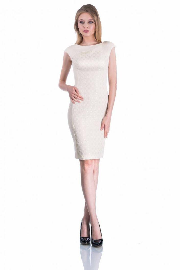 Rochie eleganta  midi din brocart, culoare ecru
