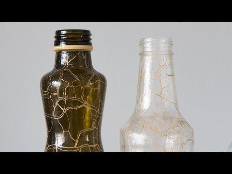 Como Fazer Artesanato com Garrafas de Vidro Craqueladas Reciclagem e Customização - YouTube