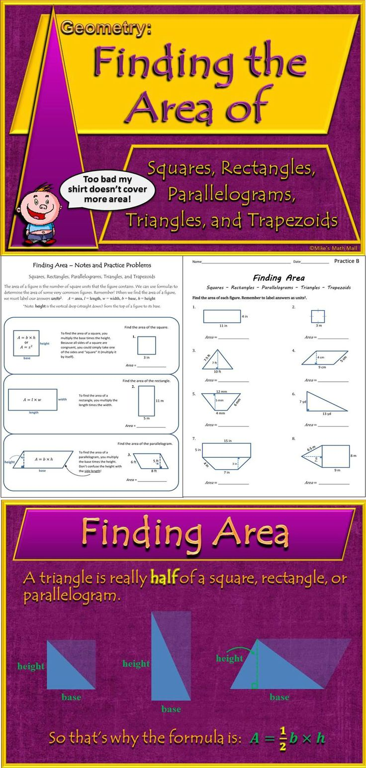 This is a fun bundled unit (interactive PowerPoint, practice pages, quizzes, notes, etc.) that will not only teach your students the various area formulas for squares, rectangles, parallelograms, triangles, and trapezoids, but will also show them how these figures and formulas are all related. Mike's Math Mall - $
