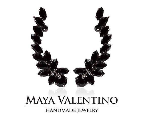 Black ear cuff Climbing earrings Ruthenium ear cuff Elegant #Swarovski #Earrings #Prom #Handmadegifts #Forher #Jewelry #Cocktail #Style #Fashion #Trends #Unique #Statement #Sparkling #Women #Gorgeous #Bestfriend #Gifts #Etsy #Elegant