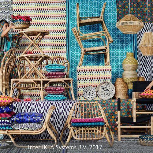 Intensive Farben, fröhliche Muster und natürliche Materialien: Die limitierte JASSA-Kollektion von IKEA bringt ein Gefühl von Sommer, Wärme und Exotik in die blaugelben Möbelhäuser.