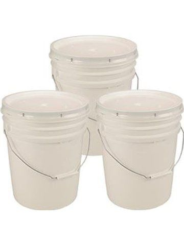 5 Gallon White Bucket & Lid - Set of 3 - Durable 90 Mil All Purpose Pail - Food Grade - Contains No BPA Plastic
