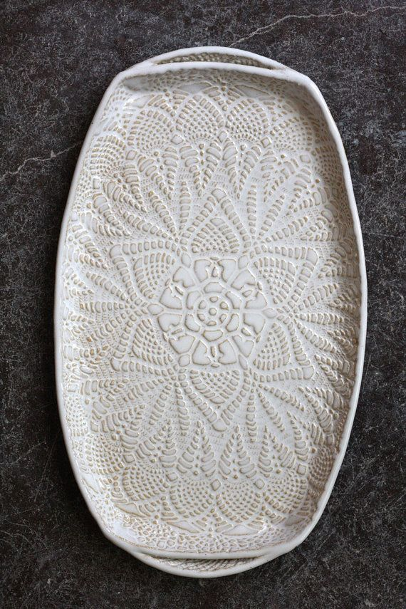 Handmade Pottery Tray White Lace Ceramic by FringeandFettle.