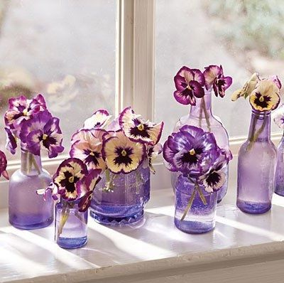 Wedding Centerpieces On a Budget | How about pansy centerpieces for a garden wedding? You can use small ...
