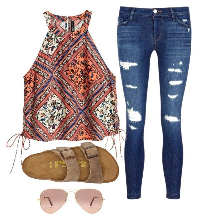 """""""Untitled #247"""" by haileyhoksbergen on Polyvore featuring J Brand, Birkenstock and Ray-Ban"""