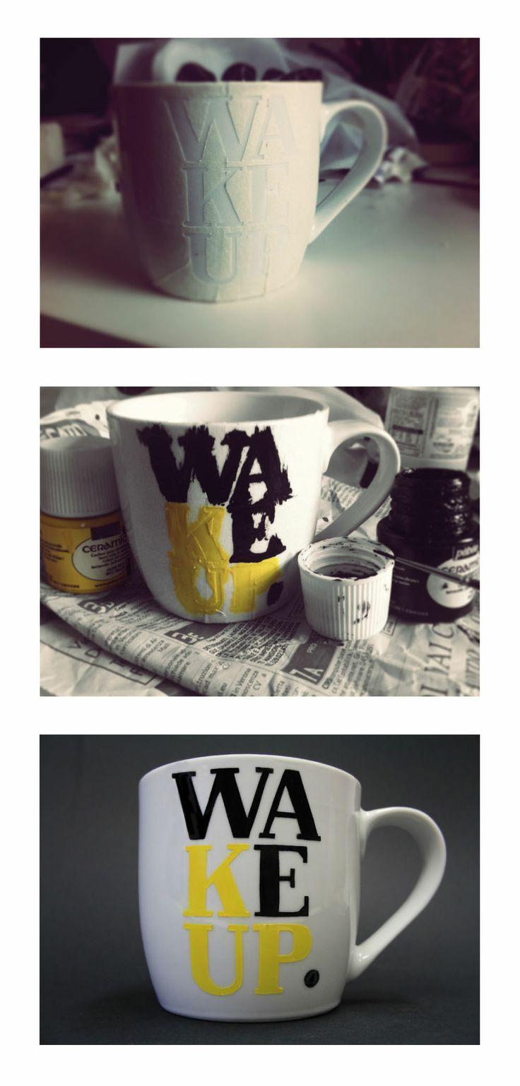 #chiaragregori #connessioni #workshop #visualdesign #idp #graphicdesign #handmade #ink #font #black #yellow #preparation #cup #wakeup #ceramic #decoration