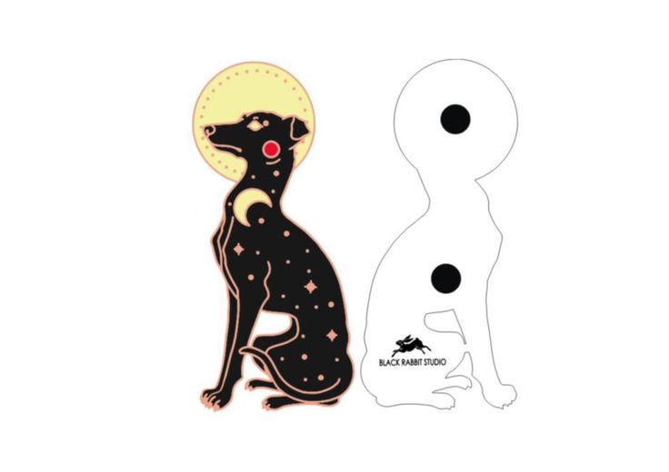 "This listing is for a Celestial Companion (Dog) Lapel pin pre-order. Each hard enamel pin will be just shy of 1.9"" tall, and will come with a pair of deluxe gold tone locking clutches, for added safety and security. The pins will be made in rose gold tone metal, with black, red, and yellow hard enam"