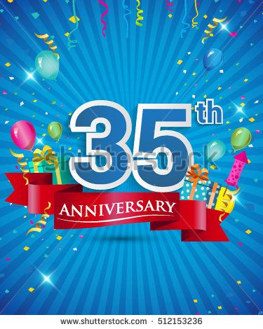 Celebrating 35 years Anniversary logo, with confetti and balloons, red ribbon, Colorful Vector design template elements for your invitation card, flyer, banner and poster.