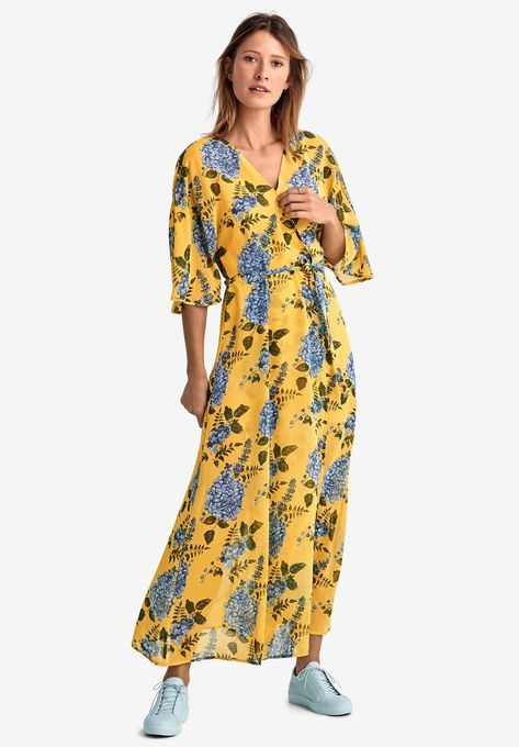 1bed276f215 Tie-Front Floral Wrap Dress by ellos®