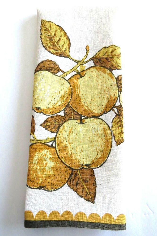 Golden Apples Tea Dish Kitchen Towel Luther Travis Yellow Gold Fruit Vintage Ebay Apple Tea Vintage Tea Towels Golden Apple