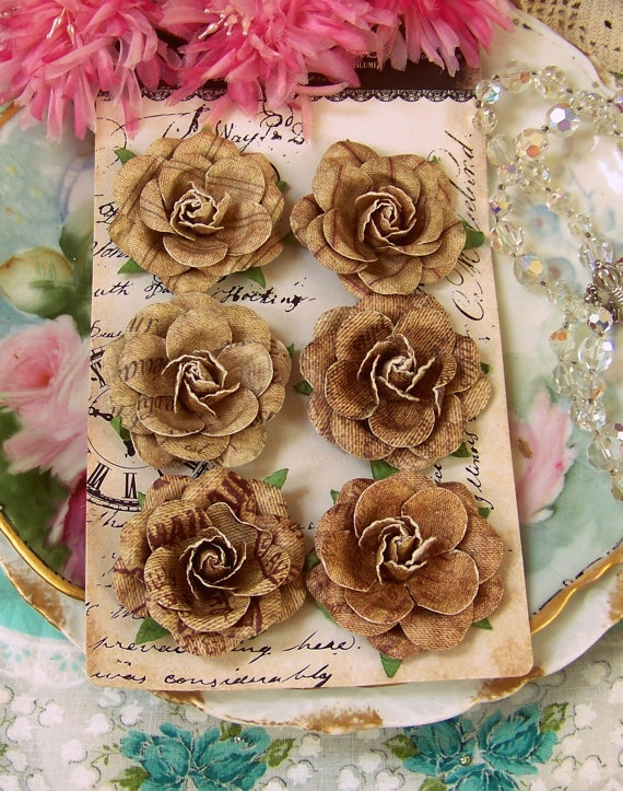 20 best diy flowers images on pinterest fabric flowers paper prima flowers rustic chic set of 6 natural colored tan paper roses for vintage inspired paper mightylinksfo