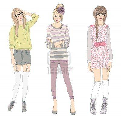 Jonge mode meisjes illustratie. Vector illustratie. Achtergrond met tiener vrouwen in modieuze kleding poseren. Mode-illustratie. Stockfoto ...