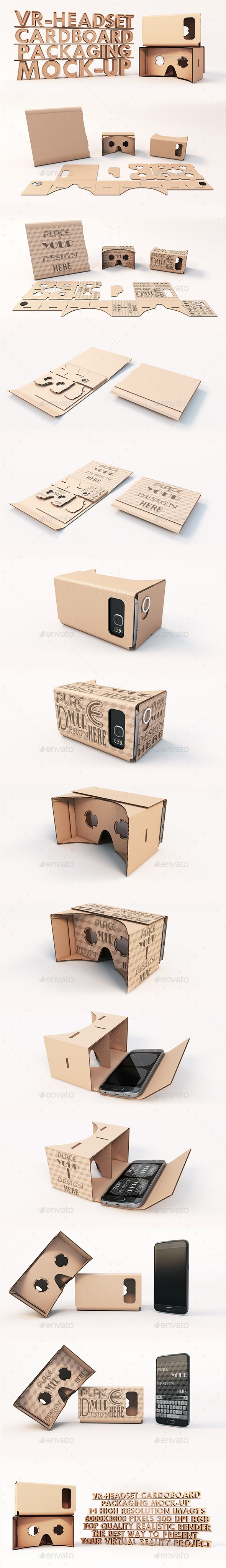 Virtual Reality Headset Cardboard Packaging Mock-ups - Product Mock-Ups Graphics