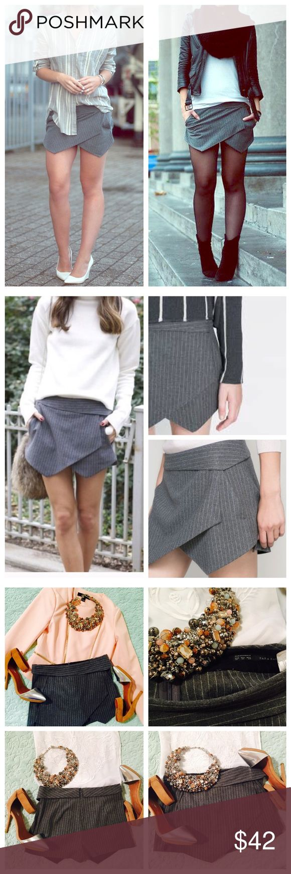 Zara Asymetrical Pinstriped Skort Super cute gray pinstriped Asymetrical Skort never worn from Zara! Zara Shorts Skorts