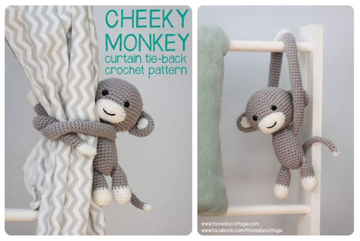 An easy to follow crochet pattern for a cute, cheeky monkey curtain tie back. Perfect for a nursery. Available for download on Etsy.