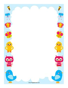 Colorful birds and bugs adorn this border design. Free to download and print.