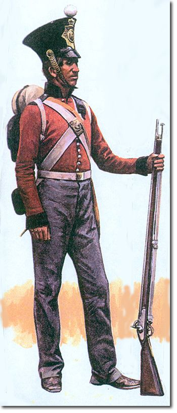 private of the Royal Irish Regiment in China during the 1839-42 war. He is wearing the undress shell jacket.