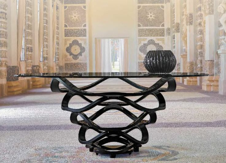 "black glass center hall table - 60"" diameter reflex angelo catalog - Google Search"