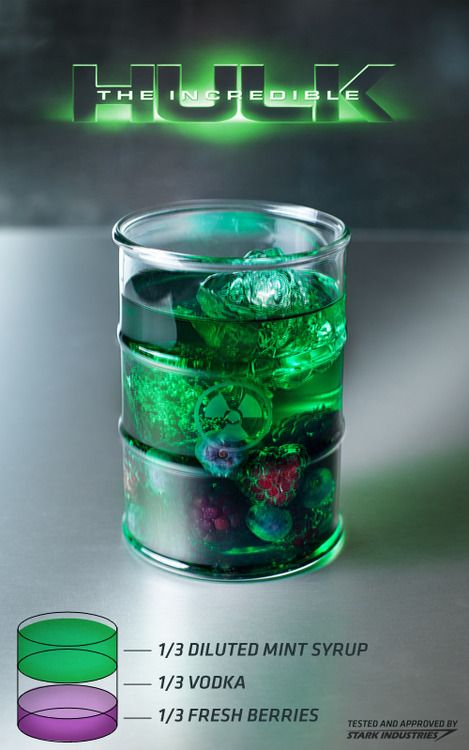 The Incredible Hulk cocktail  Ingredients: 1/3 diluted mint syrup, 1/3 vodka, 1/3 fresh mixed berries  Directions: Mix ingredients in glass over ice. Mint syrup can be diluted w/water to taste