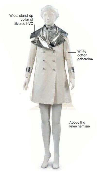 """""""Englishman John Bates, an early proponent of the miniskirt, designed this wedding ensemble for fashion journalist Marit Allen in 1966. Bates created the double-breasted coat with wide lapels, using shiny metallic polyester and PVC."""""""