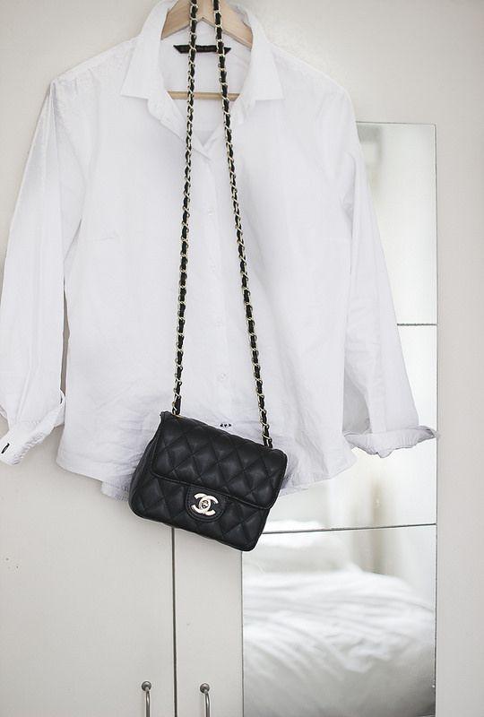 white shirt and chanel bag
