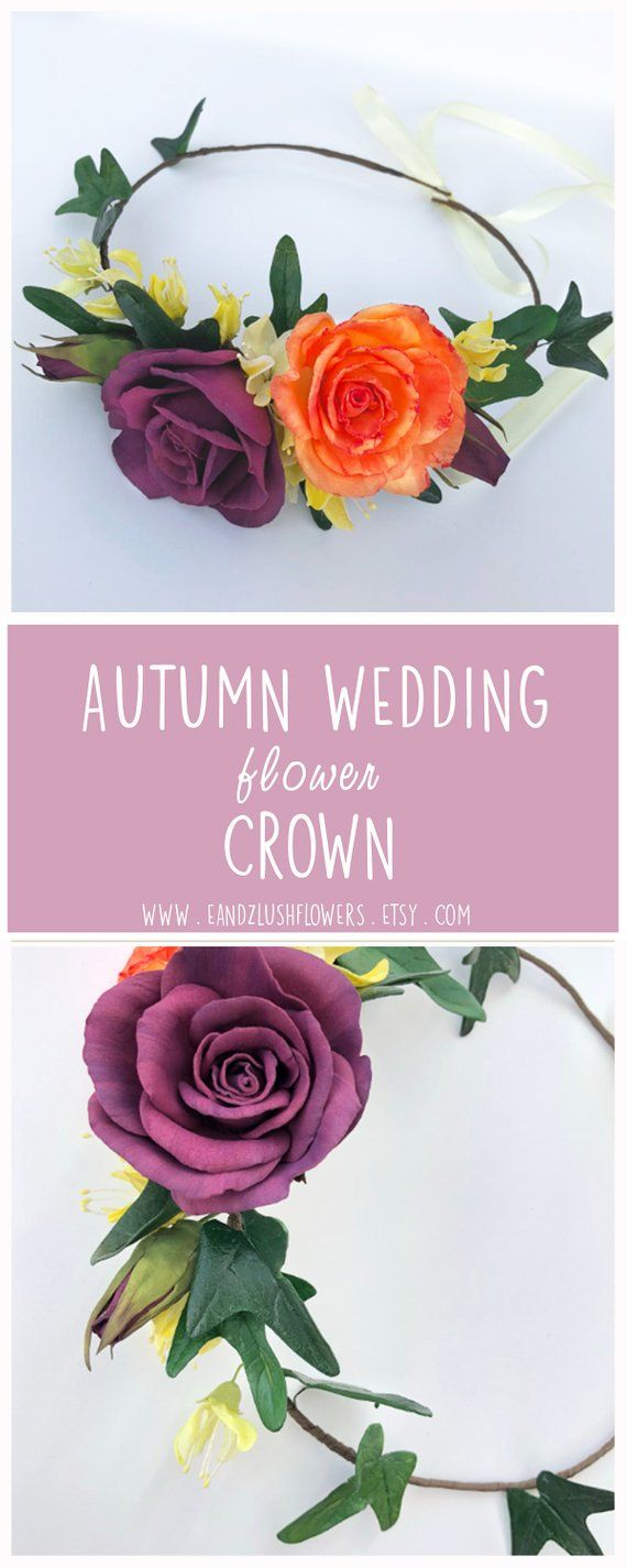 Autumn wedding rose flower crown, Floral hair piece for bridesmaid, Flower girl hair woodland wreath