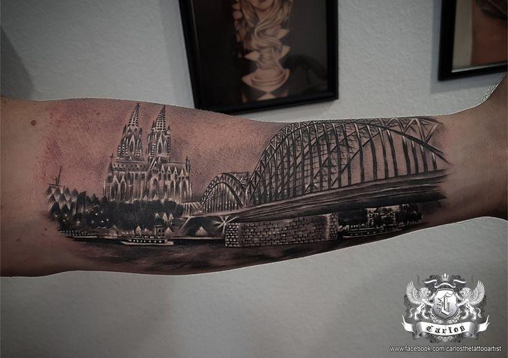 Köln tattoo, Cologne tattoo, bridge tattoo, Landdscape tattoo Black and Grey tattoo, Realistic tattoo