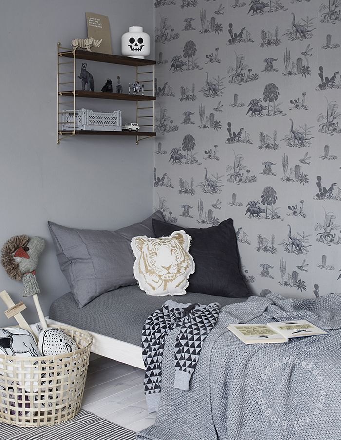 Chambre enfant design en camaïeu de gris, papier-peint savane | kid's Bedroom, grey monochrome