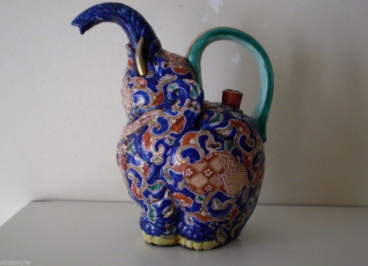 Antique chinese hand painted elephant ceramic cobalt blue kettle teapot red mark 110 40 ship - Elephant cast iron teapot ...