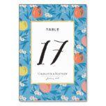 Apple Floral Sky Blue Pink Table Number Card #weddinginspiration #wedding #weddinginvitions #weddingideas #bride