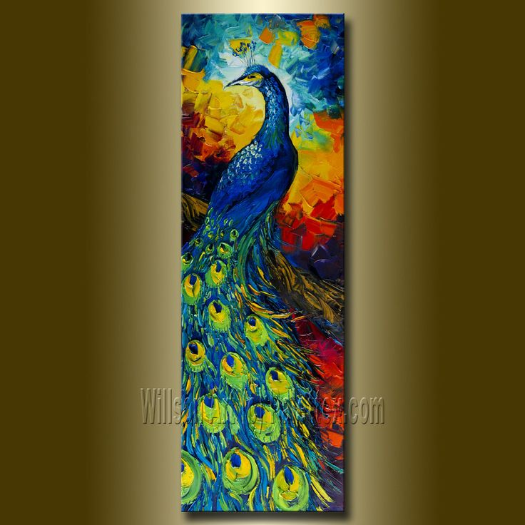 Painted Couple Peacock Wedding Gifts Unique Delicate Home: Original Peacock Oil Painting Textured Palette Knife