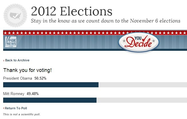 Fox News online put up a poll of who won the debate, and Barack Obama is winning. Vote to keep the trend: http://www.foxnews.com/politics/elections/2012/you-decide/who-won-final-presidential-debate