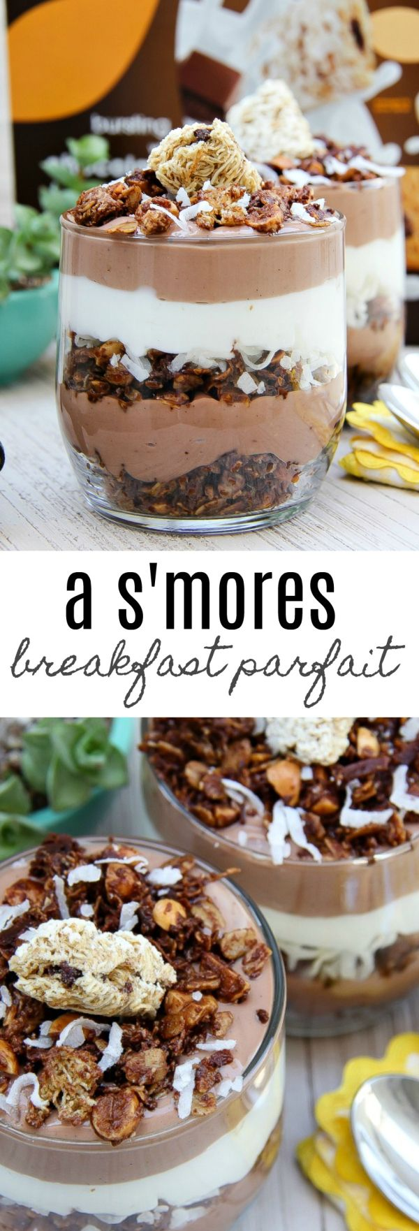 Who says you can't have dessert for breakfast. These delicious s'mores breakfast parfaits are made with Nutella, shredded wheat cereal, yogurt, and coconut.