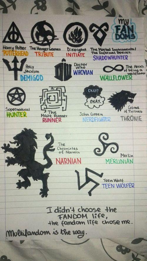potterhead, tribute, initiate, shadowhunter,demigod, wallflower, runner, nerdfighter, narnian