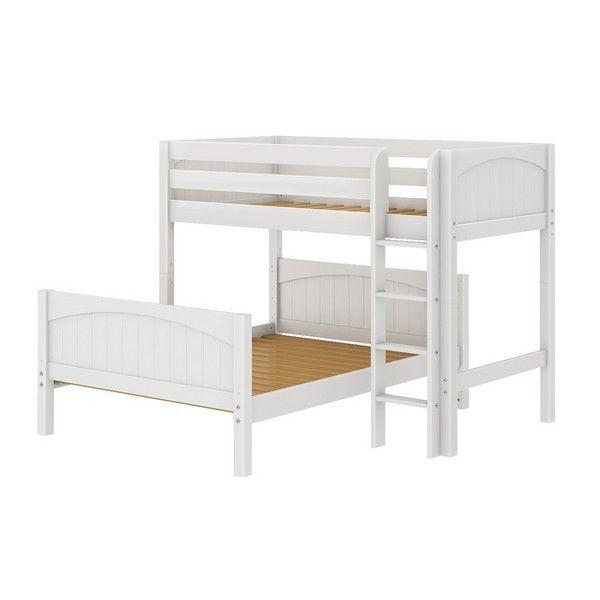 MaxtrixKids | MIX WP : Twin/Full Bunk w/ Straight Ladder : Twin/Full : White : Panel - MIX-WP
