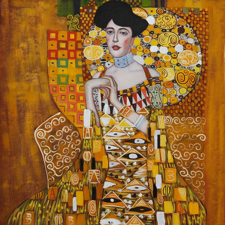 "For the ""solar-powered"" decor - ""Portrait of Adele Bloch-Bauer I"", Gustav Klimt. #gold #yellow #springdecor #art"
