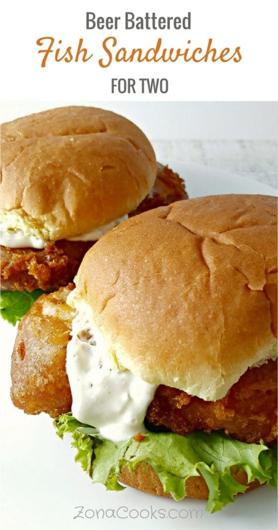 a graphic with text saying Beer Battered Fish Sandwiches for Two and two fish sandwiches on a plate