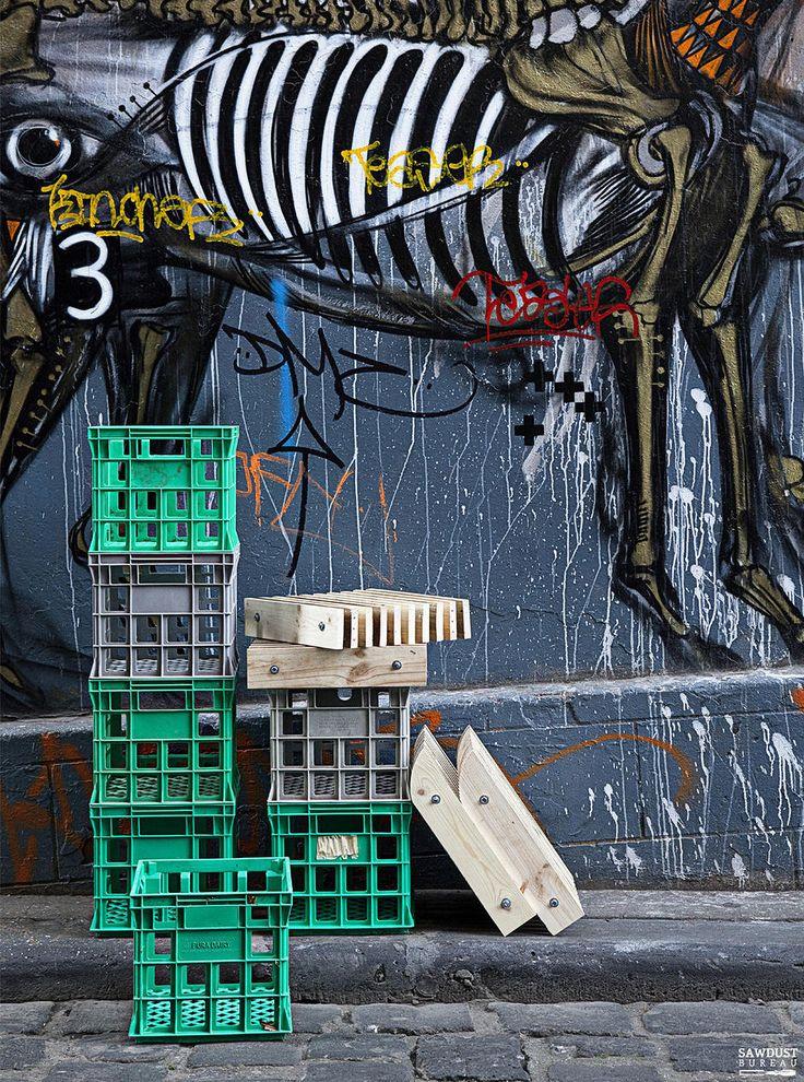 Milk Crates, Reclaimed, Urban, Recycled, Pallet, Timber, Design, Laneway Art, Furniture, Melbourne, Bryan Cush, Sawdust Bureau