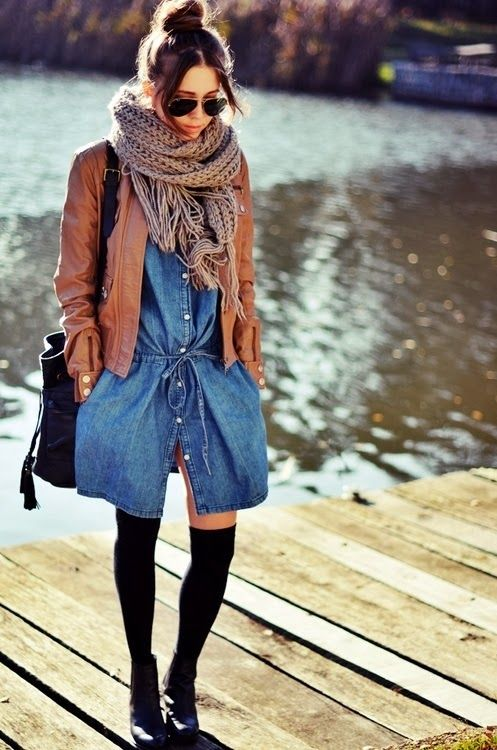 Denim Dress With Leather Jacket and Ray Bans