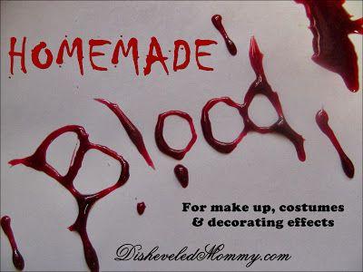 Homemade Fake Blood For Halloween. Kid safe! Face safe! #makeup #DIY #halloween #homemade #costumes