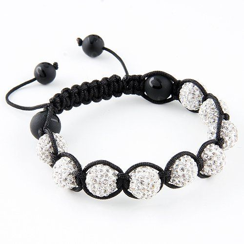 Macrame - Crystal Bead Bracelet - Black String JewelryVolt. $25.00