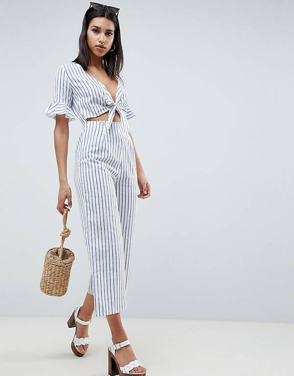 7197259e7e3 ASOS DESIGN tea jumpsuit with cut out and tie detail in linen in stripe