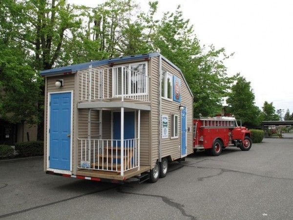 Fire safety tiny house on a trailer like this tiny house for Rv with balcony