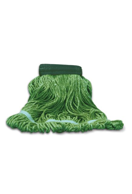 Wet mop looped end, wide band: Wet mop composed of a mix yarn for a better durability.