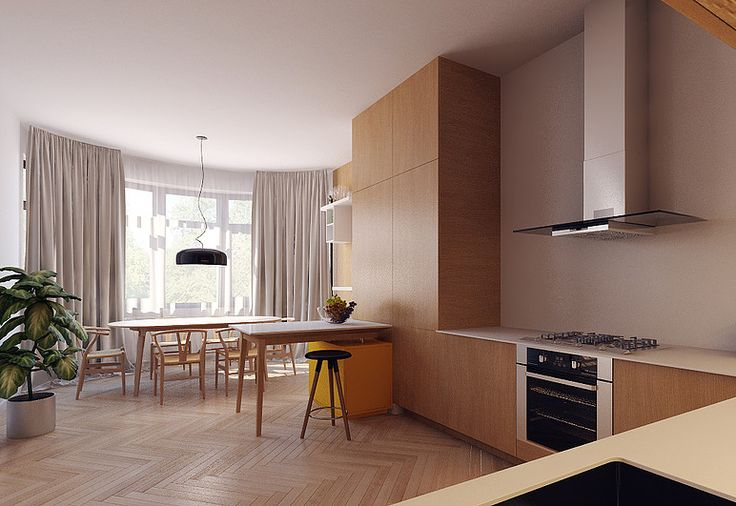 sunny kitchen light wood yellow island parquet airy and light