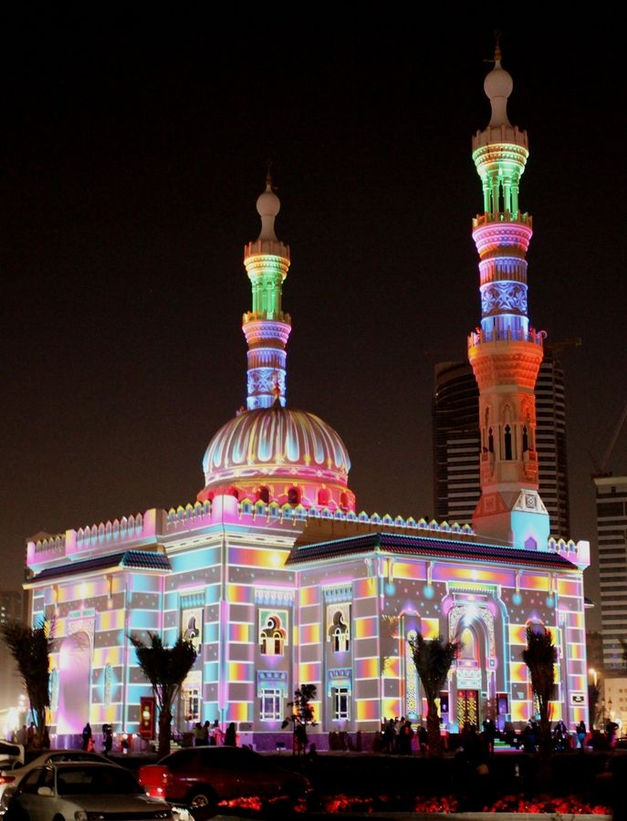 Mosque - Light Festival  Sharjah, UAE